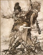 """""""The Rhinegold"""" (Das Rheingold), opera by Richard Wagner. Freia kidnapped by the giants. Illustration by Arthur Rackham (1867-1939), 1910. Collection Bruno Lussato). Paris, French National Library. © Colette Masson/Roger-Viollet"""