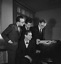 Jean-Yves Daniel-Lesur, Olivier Messiaen, André Jolivet and Yves Baudrier, French composers. Paris, May 1937. © Boris Lipnitzki / Roger-Viollet