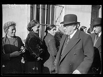 """Spanish Civil war (1939-1936). """"La Retirada"""". Albert Sarraut (1872-1962), French Minister of the Interior, and Marc Rucart (1893-1964), French Minister of Health, visiting the Spanish refugee camp. Le Perthus (France), January 31, 1939. Photograph from the Excelsior newspaper. © Excelsior – L'Equipe/Roger-Viollet"""