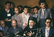 Hilarion Capucci (1922-2017), patriarchal head of the Greek Melkite Catholic church, and Monseigneur Gaillot (born in 1935), French clergyman. Press conference of the PLO (Palestine Liberation Organization). Athens (Greece), on February 14, 1988. © Françoise Demulder / Roger-Viollet