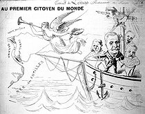 """""""To the first citizen of the world"""". Cartoon about Ferdinand de Lesseps (1805-1894), French diplomat and administrator, published in """"La Trompette"""" on June 24, 1888, shortly before the bankruptcy of the Panama Canal Company, which he had founded. © Roger-Viollet"""