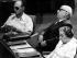 Moshe Dayan (1915-1981), Pinhas Sapir et Golda Meir (1898-1978), personnalités politiques israéliennes, au Knesset, parlement israélien. Jérusalem, 1974. © Ullstein Bild/Roger-Viollet