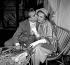 """Jeanne Moreau et Philippe Lemaire pendant le tournage du film de Raymond Bailly """"L'Etrange Monsieur Steve"""", 1957. © Alain Adler / Roger-Viollet"""