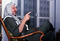 Yasser Arafat (1929-2004), head of the Palestine Liberation Organization, at his place. Tunis (Tunisia), 1985. © Françoise Demulder / Roger-Viollet