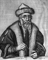 Johannes Gensfleisch Gutenberg (circa 1400-1468), German printer. Engraving by P. Stent after R. Gaywood (1650-1711). French National Library. © Roger-Viollet