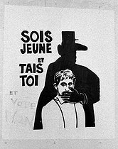 """Poster """"Be young and shut up."""" Paris, 1968. © Roger-Viollet"""