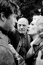 "Shooting of ""The Milky Way"", film by Luis Buñuel. Luis Buñuel and Delphine Seyrig. 1968. Photograph by Georges Kelaïditès (1932-2015). © Georges Kelaïditès / Roger-Viollet"