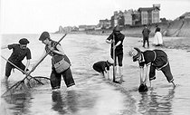 Shrimp fishing. Asnelles (Calvados), around 1900. © CAP/Roger-Viollet
