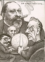 Entente cordiale. Sharing of the world between King Edward VII, Emile Loubet, President of the French Republic, Theophile Delcassé, French Foreign Secretary, and Joseph Chamberlain, British minister of Colonies. Illustration by Orens, 1903. © Roger-Viollet