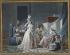 """Jean-Baptiste Mallet (1759-1825). """"L'Amour au petit point"""". Gouache sur papier, entre 1785 et 1790. Paris, musée Cognacq-Jay.  © Musée Cognacq-Jay/Roger-Viollet"""