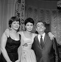 """Oscar"", play by Claude Magnier. Denise Provence, O. Poisson and Louis de Funès. Paris, Théâtre de la Porte Saint-Martin, January 1961.     © Studio Lipnitzki/Roger-Viollet"