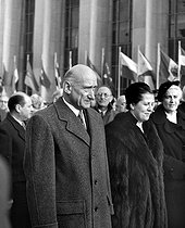 Robert Schuman (1886-1963), French politician and Mrs Georges Bidault (Suzy Borel). Inauguration of the premises of the UNO at the Chaillot palace. Paris, September 1951. © Roger-Viollet