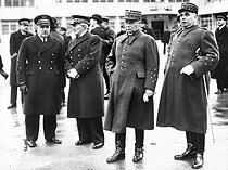 Air Force General Vuillemin, Admiral Darlan, General Gamelin and General Georges waiting for General Gort. Le Bourget airport, 1939.    © Roger-Viollet