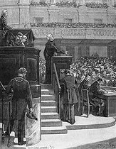 Adolphe Thiers (1797-1877), President of the French Republic, at the stand of the French National Assembly, voting for the rejection of the 3-year conscription. Paris, 1872.$$$ © Roger-Viollet