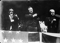 Theodore Roosevelt (1887-1944, centre), American politician and presidential candidate. United States, November 1912. © Maurice-Louis Branger / Roger-Viollet