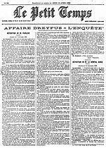 "the Dreyfus affair. "" The Small Time "" of April 13, 1899. Testimonies of Paul Painlevé in the session of February 7, 1899, and of general Gonse in the scéance of December 12, 1898. © Roger-Viollet"