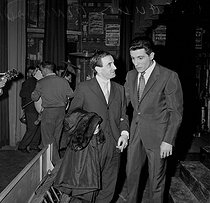 Charles Aznavour (1924-2018), Armenian-born French singer-songwriter and actor, and Gilbert Bécaud (1927-2001), French singer-songwriter and pianist. Paris, Olympia. 1959. © Roger-Viollet