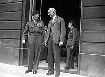 Robert Schuman (1886-1963), French Prime Minister, greeting Bernard Montgomery (1887-1976), Bernard Montgomery (1887-1976), Field Marshal of the British Army. Paris, Hôtel Matignon, July 1949. © Roger-Viollet