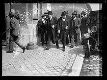 "World War One. Turmel case. Deputies of the Commission visiting Louis Turmel (1866-1919), French politician accused of high treason. Pierre Laval, André Hesse, Mr Couesnon and André Paisan. Paris (XIVth arrondissement), Santé prison, on May 10, 1918. Photograph published in the newspaper ""Excelsior"", on May 11, 1918. © Excelsior – L'Equipe/Roger-Viollet"