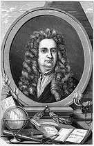Isaac Newton (1642-172 ), English mathematician and physicist. Engraving from the XIX-th century. © Roger-Viollet