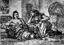 Women from Algiers. Engraving after Eugène Delacroix (1798-1863). French National Library. © Roger-Viollet