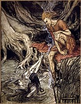 """""""The Rhinegold"""" (Das Rheingold), opera by Richard Wagner. The girls from the Rhine and Loge. Illustration by Arthur Rackham (1867-1939), 1910. Collection Bruno Lussato. Paris, B.N.F. © Colette Masson/Roger-Viollet"""