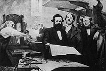 "Karl Marx and Engels in the printing house of the ""Neue Rheinische Zeitung"" (newspaper published in Cologne at the time of the Revolution of 1848-1849). Painting by E. Capiro.  © Roger-Viollet"