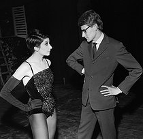 Zizi Jeanmaire (born in 1924), French ballet dancer, and Yves Saint Laurent (1936-2008), French fashion designer. Paris, Alhambra, December 1961. © Boris Lipnitzki / Roger-Viollet
