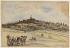 """Georges Michel (1763-1843). """"Butte Montmartre et tour du télégraphe (recto)"""". Paris (XVIIIème arr.). Aquarelle et pierre noire. Paris, musée Carnavalet. © Musée Carnavalet / Roger-Viollet"""