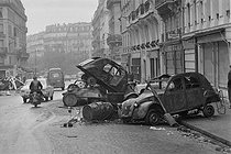 "Events of May-June 1968. Damages after the second ""Night of the barricades"", rue Gay-Lussac. Paris (Vth arrondissement), on May 25, 1968. Photograph by Jacques Boissay, from the collections of the French newspaper ""France-Soir"". Bibliothèque historique de la Ville de Paris. © Jacques Boissay / Fonds France-Soir / BHVP / Roger-Viollet"