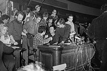 "Events of May-June 1968. Press conference of the ""Movement of March 22"". Jean-Pierre Duteuil (born in 1944) and Daniel Cohn Bendit (born in 1945), hair colored in black, back in France. Paris, on May 28, 1968. Photograph by Michel Pansu, from the collections of the French newspaper ""France-Soir"". Bibliothèque historique de la Ville de Paris. © Michel Pansu / Fonds France-Soir / BHVP / Roger-Viollet"