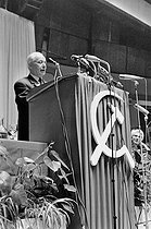 "Events of May-June 1968. Meeting for the beginning of the election campaign of the French Communist Party (PCF, Parti communiste français). Louis Aragon (1897-1982), French poet and novelist, and Jeannette Vermeersch (1910-2001), French politician. Paris (XVth arrondissement), Palais des Sports, on June 10, 1968. Photograph by Claude Poensin-Burat, from the collections of the French newspaper ""France-Soir"". Bibliothèque historique de la Ville de Paris. © Claude Poensin-Burat / Fonds France-Soir / BHVP / Roger-Viollet"