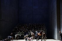 """From the House of the Dead"", three-act drama by Leos Janacek. Conductor : Esa-Pekka Salonen. Direction : Patrice Chéreau. Librettist : Leos Jancek. Orchestra and chorus : Opéra national de Paris. Stage design : Richard Peduzzi. Costumes : Caroline de Vivaise. Lights : Bertrand Couderc. Ales Jeniš. Paris, Opéra Bastille, on November 13, 2017. Photograph by Colette Masson (born in 1934). © Colette Masson / Roger-Viollet"