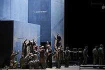 """From the House of the Dead"", three-act drama by Leos Janacek. Conductor : Esa-Pekka Salonen. Direction : Patrice Chéreau. Librettist : Leos Jancek. Orchestra and chorus : Opéra national de Paris. Stage design : Richard Peduzzi. Costumes : Caroline de Vivaise. Lights : Bertrand Couderc. Eric Stoklossa, Peter Straka, Ladislav Elgr, Ján Galla and Ales Jenis. Paris, Opéra Bastille, on November 13, 2017. Photograph by Colette Masson (born in 1934). © Colette Masson / Roger-Viollet"