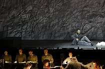 """Only the Sound Remains"", opera by Kaija Saariaho. Direction : Peter Sellars. Conductor : Ernest Martinez Izquierdo. Orchestra and chorus : Meta4 Theater of Voices. Stage design : Julie Mehretu. Costumes : Robby Duiveman. Lights : James F. Ingalls. Davone Tines (Priest Fisherman), Philippe Jaroussky (Spirit, Angel), Nora Kimball-Mentzos (dancer). Paris, Opéra Garnier, on January 21, 2018. Photograph by Colette Masson (born in 1934). © Colette Masson / Roger-Viollet"