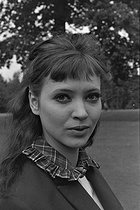 "Anna Karina (1940-2019), Danish-born French actress, singer and writer, during the shooting of ""Journal d'un fou"", film by Roger Coggio, on September 14, 1963. Photograph by André Grassart (born in 1935), from the collections of the French newspaper ""France-Soir"". Bibliothèque historique de la Ville de Paris. © André Grassart / BHVP / Roger-Viollet"