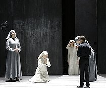 """Dialogue des Carmélites (Dialogues of the Carmelites), opera by Francis Poulenc. Direction : Olivier Py. Conductor : Jérémie Rhorer. Author : Georges Bernanos. Librettist : Emmet Lavery. Orchestre National de France. Chorus : Théâtre des Champs Elysées. Ensemble Aedes. Stage design and costumes : Pierre André Weitz. Lights : Bertrand Killy. Patricia Petibon, Sabine Devieilhe, Sophie Koch, Lucie Roche and François Piolino. Paris, Théâtre des Champs-Elysées, on February 3rd, 2018. © Colette Masson / Roger-Viollet"