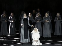 """Dialogue des Carmélites (Dialogues of the Carmelites), opera by Francis Poulenc. Direction : Olivier Py. Conductor : Jérémie Rhorer. Author : Georges Bernanos. Librettist : Emmet Lavery. Orchestre National de France. Chorus : Théâtre des Champs Elysées. Ensemble Aedes. Stage design and costumes : Pierre André Weitz. Lights : Bertrand Killy. Patricia Petibon and Sophie Koch. Paris, Théâtre des Champs-Elysées, on February 3rd, 2018. © Colette Masson / Roger-Viollet"