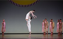 """Daphnis et Chloé"", ballet by Maurice Ravel. Choreography : Benjamin Millepied. Lights : Madjid Hakimi. Stage design : Daniel Buren. Costumes : Holly Hynes. Opéra national de Paris orchestra and dance company. Dancer : Hannah O'Neill (Chloé), Yannick Bittencourt (Daphnis). Paris, Opéra Bastille, on February 22, 2018. © Colette Masson / Roger-Viollet"