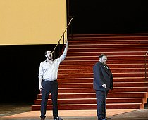 """""""Boris Godounov"""", three-act opera by Modest Petrovich Mussorgsky. Conductor : Vladimir Jurowski. Direction : Ivo Van Hove. Stage design and lights : Jan Versweyveld. Orchestra and chorus : Opéra National de Paris. Alexander Tsymbalyuk and Maxim Paster. Paris, Opéra Bastille, on June 1st, 2018. © Colette Masson / Roger-Viollet"""