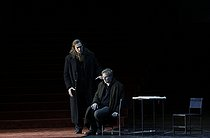 """""""Boris Godounov"""", three-act opera by Modest Petrovich Mussorgsky. Conductor : Vladimir Jurowski. Direction : Ivo Van Hove. Stage design and lights : Jan Versweyveld. Orchestra and chorus : Opéra National de Paris. Ain Anger and Dmitry Golovnin. Paris, Opéra Bastille, on June 1st, 2018. © Colette Masson / Roger-Viollet"""