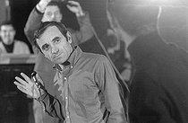"Charles Aznavour (1924-2018), Armenian-born French singer-songwriter and actor, on January 15, 1965. Photograph by André Grassart (born in 1935), from the collections of the newspaper ""France-Soir"". Bibliothèque historique de la Ville de Paris. © André Grassart / BHVP / Roger-Viollet"