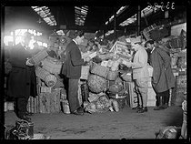 "Railwaymen strike : the resupplying service at the Gare des Batignolles train station. Paris (XVIIth arrondissement), on March 1st, 1920. Photograph from the collections of the newspaper ""Excelsior"". © Excelsior – L'Equipe / Roger-Viollet"