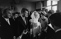 "Wedding of Sylvie Vartan (born in 1944) and Johnny Hallyday (1943-2017), French singers. The newlyweds during the civil ceremony at the Loconville town hall (France), on April 12, 1965. Photograph by André Grassart (born in 1935), from the collections of the newspaper ""France Soir"". Bibliothèque historique de la Ville de Paris. © André Grassart / BHVP / Roger-Viollet"
