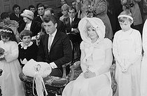 "Wedding of Sylvie Vartan (born in 1944) and Johnny Hallyday (1943-2017), French singers. The newlyweds during the religious ceremony at the Loconville church (France), on April 12, 1965. Photograph by André Grassart (born in 1935), from the collections of the newspaper ""France Soir"". Bibliothèque historique de la Ville de Paris. © André Grassart / BHVP / Roger-Viollet"