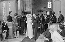 "Wedding of Sylvie Vartan (born in 1944) and Johnny Hallyday (1943-2017), French singers. The bride heading to the altar for the religious ceremony at the Loconville church (France), on April 12, 1965. Photograph by André Grassart (born in 1935), from the collections of the newspaper ""France Soir"". Bibliothèque historique de la Ville de Paris. © André Grassart / BHVP / Roger-Viollet"