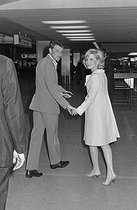 "Wedding of Sylvie Vartan (born in 1944) and Johnny Hallyday (1943-2017), French singers. The newlyweds at the Orly airport, before leaving on honeymoon, on April 12, 1965. Photograph by André Grassart (born in 1935), from the collections of the newspaper ""France Soir"". Bibliothèque historique de la Ville de Paris. © André Grassart / BHVP / Roger-Viollet"