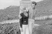 "Wedding of Sylvie Vartan (born in 1944) and Johnny Hallyday (1943-2017), French singers. The newlyweds during their honeymoon at the Canary Islands, on April 18, 1965. Photograph by André Grassart (born in 1935), from the collections of the newspaper ""France Soir"". Bibliothèque historique de la Ville de Paris. © André Grassart / BHVP / Roger-Viollet"