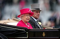 pa-sport-old-20150616-142451-racing_ascot_142238.jpg. David Davies. Horse Racing - The Royal Ascot Meeting 2015 - Day One - Ascot Racecourse. Queen Elizabeth II and the Duke of Edinburgh arrive for day one of the 2015 Royal Ascot Meeting at Ascot Racecourse, Berkshire. 20150616. © David Davies / PA Archive / Roger-Viollet