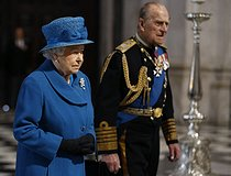 pa-news-20150313-120605-memorial_afghanistan_120336.jpg. Kirsty Wigglesworth. Afghanistan war commemorations. Queen Elizabeth II and the Duke of Edinburgh arriving for a commemoration service to mark the end of combat operations in Afghanistan at St Paul's Cathedral, London. 20150313. © Kirsty Wigglesworth / PA Archive / Roger-Viollet